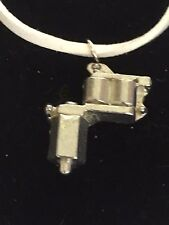 "Tattoo Gun TG55 Fine English Pewter On 18"" White Cord Necklace"