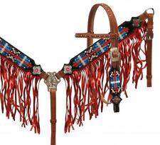 Showman Navajo Embroidered Bridle Set W/ RED Metallic Fringe! HORSE TACK!