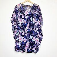 Express Black & Purple Floral Kimono Mini Dress Women's Size Small