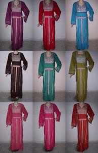 Egyptian Cotton Kaftan Caftan Galabeya Dress Embroidered Abaya Jilbab Long Maxi