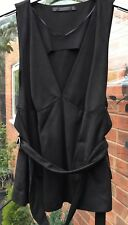 NEARLY NEW ZARA BLACK FAUX SUEDE TOP WITH MATCHING BELT SIZE L