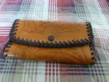 Vintage Western Hand Tooled Leather Bi-fold Key Ring Holder 6 Rings