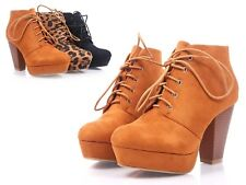 Tan Faux Suede Lace Up Booties Cuban High Heel Women Ankle Boots Size 7