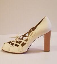 NWOB Stuart Weitzman Leather  Peep Toe Lace up Sandals  Shoes White sz 10