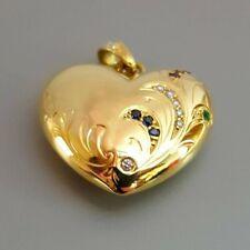 18K Yellow Gold, Diamond, Emerald, Ruby, Sapphire Heart Pendant. Enhancer Bail