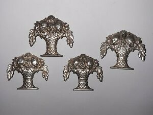 4 PC ANTIQUE .800 SILVER FLOWER BASKET MENU PLACE CARD HOLDERS