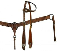 Showman Floral Tooled Leather One Ear Headstall, Breast Collar & Reins Set! NEW!