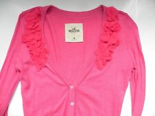 Hollister~Pink Cardigan Sweater with Flower design size M~LN