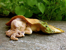 Sleeping Woodland Fairy With  Frog in Leaf  Faerie Village Resin New Long Hair