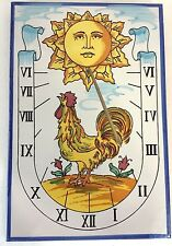 """Tile Sundial Sun Roaster Flowers 8"""" x 12"""" x 1/4""""  Hand Painted Made in Spain"""