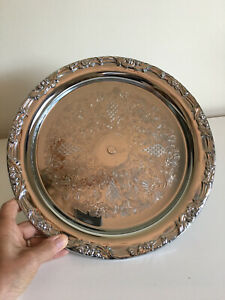 """13"""" Silver Finish Display Cake Stand with Pedestal"""