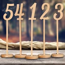 Unpainted 40cm Wooden TABLE NUMBERS MDF Stick Wedding Birthday Tall & Thick BASE