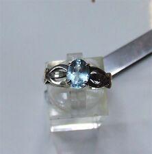 Natural blue topaz in sterling silver. 2.8 grams