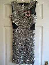 BANK RIBBON BLACK SILVER SEQUIN MESH DRESS. PARTY. SIZE 12. RRP £60. NEW. BNWT.
