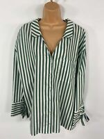 WOMENS BERSHKA GREEN & WHITE STRIPED LONG SLEEVE SHIRT BLOUSE CASUAL TOP MEDIUM