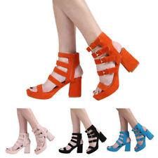Block Heel Faux Suede Patternless Peep Toe Heels for Women