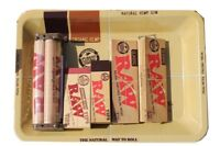 RAW ROLLING PAPER COMBO METALLIC TRAY+PAPERS+TIPS+ROLLING MACHINE