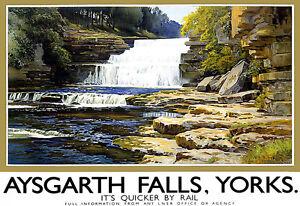 Aysgarth Falls - Yorkshire - Railway Travel  Vacation A3 Art Poster Print