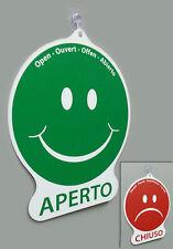 Cartello APERTO e CHIUSO emoticon negozio vetrina studio laboratorio officina