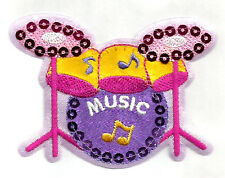 DRUM SET W/SEQUINS EMBROIDERED IRON ON PATCH