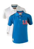 Boys Blue / White 100% Cotton Pique Polo Shirt Top ages 7 8 9 10 11 12 Years