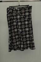 NY Collection Jacquard A-Line Skirt BlackCream Plaid L