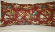Chickens Roosters Lumbar Decorative Accent Throw Pillow Cover Burgundy 10x20