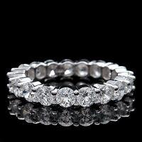 4.00 Ct. Round Lab Diamond Eternity Ring 14k White Gold Brilliant Wedding Band