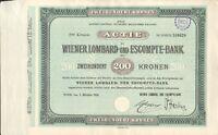 Wiener Lombard und Escompte - Bank 1 Aktie zu 200 Kronen aus 1921