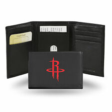 Houston Rockets NBA Embroidered Team Logo Black Leather Trifold Wallet