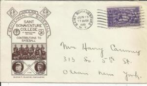 US BASEBALL FIRST DAY Sc#855 St Bonaventure College Cachet JUN/13/1939(2nd