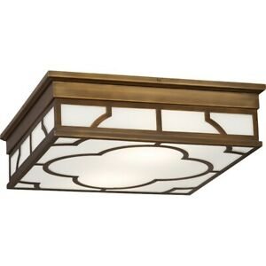 "Robert Abbey Addison 2 Light 4"" Flushmount, Weathered Brass - 1573"