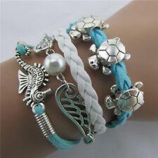 2pcs Men bracelet Fashion Jewelry Bangle Leather Sea Horse Pearl Charm Bracelet