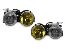 Yellow/Clear GLASS Euro Smiley Ellipsoid Projector Headlight For 84-91 BMW E30