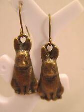 earrings bunny rabbit hook dangle bronze tone gift