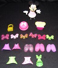 Walt Disney Minnie Mouse Dress Up Doll Toy Snap on Clothes Shoes 18 pcs