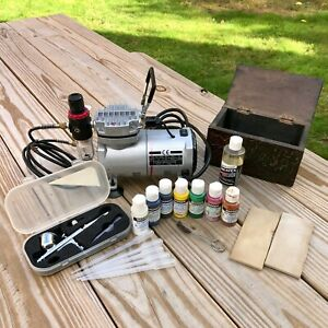 Central Pneumatic Airbrush Compressor 1/5 HP Airbrushing Painting Set w. Paints