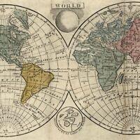 World double hemispheres rare 1808 Dublin produced map with original hand color