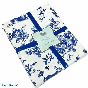 NEW Well Dressed Home 60 x 102 Easter Tablecloth Bunny Blue Toile Cottagecore