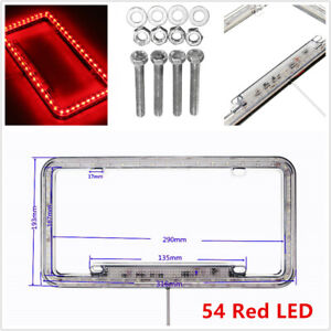 54 Red LED Lighting Acrylic Plastic License Plate Cover Frame Universal Car SUV