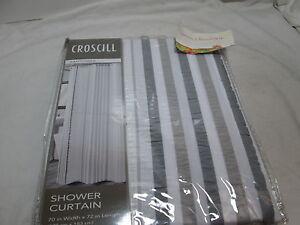 NEW Croscill SANTORINI Natural  Shower Curtain ~ Grey Gray, Taupe, White Stripes