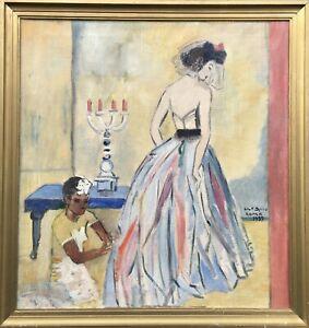 Modern Art Ölgemälde Ulf Spiro Roma 1937 Italien Interieur mit Frau im Kleid