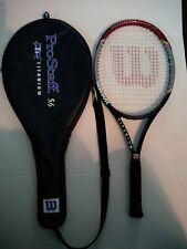 "Wilson Pro Staff 5.6 Titanium Tennis Racket 4 ⅜"" Oversized with Bag."