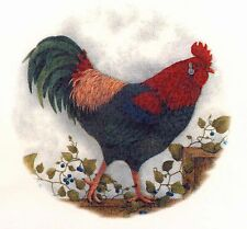 "1 Rooster Trailing Ivy 8"" Waterslide Ceramic Decal Xx"