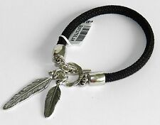 Unique Rope Black Leather Bracelet Silver Sterling 925 Plated w Feathers Charm