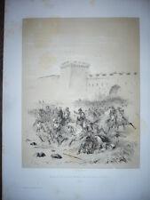 GRAVURE 19° SIÈCLE LOUIS II ROI D'ITALIE CHASSE LES SARRASINS DE BARI EN 871