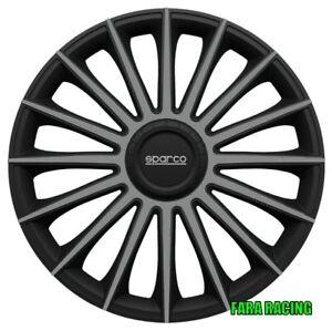 """SPC1693BKGR CORA - Sparco – kit 4 Copricerchi""""Treviso""""in ABS Nero/Grigio 16"""""""