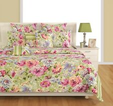 Swayam Cream and Blue Colour Floral Print Double Bed Sheet with Pillow Covers