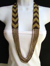 Cute Women Necklace Fashion Jewelry Long Gold Brown Beads Chevron Hawaiian Beach