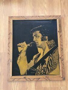 """Vintage Velvet Elvis 1972 Tour Gold Painting Portrait Print """"19 x 22 1/2"""""""